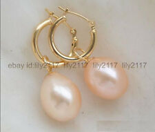 Charming ! AAA 8-9mm rice type South Sea Pink Pearl Earrings 14K Gold