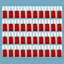 40 Lot Lego 3020 Red brick plate Zipper Pull Charm Book Bag School Bag Backpack
