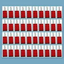 40 Lot Lego 3020 Red brick plate Zipper Pull Charm Book Bag School Bag Backpack