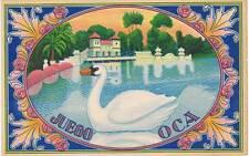 Juego Oca swan  original Spanish Orange Crate label