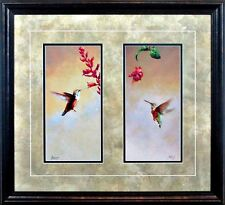 "Hummingbird Double  By Edward Aldrich Framed Print  22.5"" x 21"""