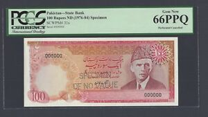 Pakistan 100 Rupees ND(1976-84) P31s Specimen Perforated  Uncirculated