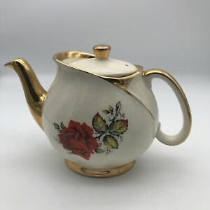 Vintage Gibsons Staffordshire England Rose Teapot Gold Hand Painted