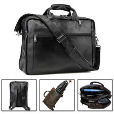 "Men's Leather 17"" Laptop Backpack Luggage Briefcase Messenger School Bag Satchel"