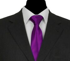 WEDDING PARTY > 8cm Classic Vintage Retro Mens Solid Satin Necktie Tie Purple