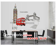London Bus Scenery Room Home Decor Removable Wall Stickers Decals Decoration