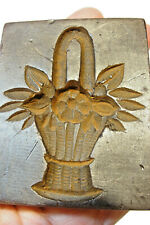 Vtg Antique German Wax Springerle Mold Flower Basket