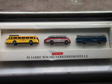 """WIKING dreiteiliges BUS-Set  """" 50 Jahre Wiking - Verkehrsmodelle """"  mit OVP 1:87"""
