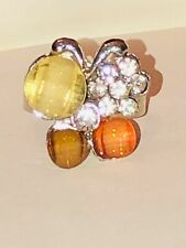 New Butterfly Ring Crystal Rhinestone Cocktail Size 6.5 Asjustable