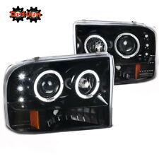 99-04 F250 F350 Super Duty Projectors Gloss Black Housing 1p Headlights Halo LED
