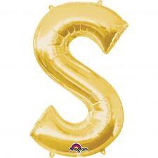 "Anagram Letter S Gold 16"" Foil Balloon Birthday Celebration Decoration"
