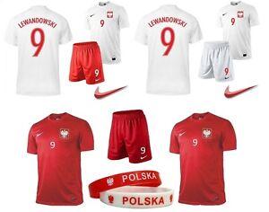 Lewandowski 9 MILIK 7 NAME Nickname NIKE POLAND Set Boys Kids Jersey Shorts