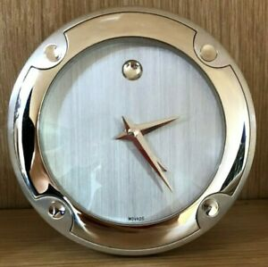 Desk Clock, With Alarm-Movado-Boxed  & New-Diameter = 3 Inches-NR