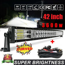 Curved 42inch 3600W LED Light Bar Flood Spot Combo Offroad Truck 4WD Pickup+wire