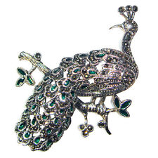 PEACOCK PIN BROOCH Green Feathers CZ Stone Eye Marcasite .925 STERLING SILVER