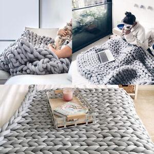 Warm Chunky Knitted Thick Blanket Handmade Yarn Throw Sofa Blanket Small Large