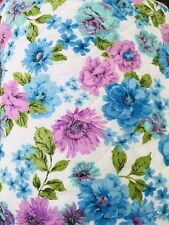 "Vintage 1960's 76""  X 80"" Floral Hippie Chic BEDSPREAD Purple Blue Green Flowers"