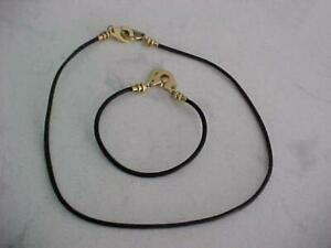 """VINTAGE 18K YELLOW GOLD w/ LEATHER BAND MATCHING 7"""" BRACELET & 15"""" NECKLACE"""