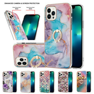 Cover For iPhone 13 Mini Pro Max 360 Ring Holder Shockproof Marble Phone Case