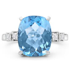 14K WHITE GOLD 4CT CUSHION CUT BLUE TOPAZ AND DIAMOND RING, SIZES-7,8