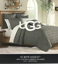 "UGG® Surfwashed Full/Queen Quilt in Charcoal 100%Cotton Garment Washed 90""x 94"""