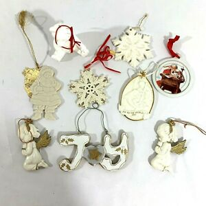 Lot Of 9 Ivory & White Christmas Ornaments Lenox, AGC, JC Penney Angel Snowflake