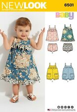 6501 BABIES' DRESS & ROMPER Sewing Pattern NEW LOOK Ages New Born - Large