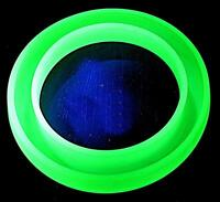 LARGE ART DECO GREEN BAGLEY URANIUM GLASS DECORATIVE POSY RING VASE 22.5cm WIDE