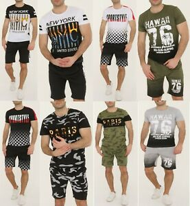 New Mens Tracksuit Crew Neck T shirt and Shorts Set Cotton 3D Logo Top fitted