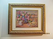"Vivian Flasch Art Matted Framed Print Signed 25"" x 21"" Flowers In Basket"