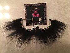 Betsey Johnson Trolls Faux Fur Fan Earrings - Black NEW