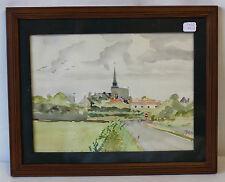 Cadre pitch pin à 2 filets sous verre avec aquarelle Vue du village avec église