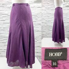 HOBBS Purple Linen Flare Maxi Skirt - Size 10 Summer Holidays Smart