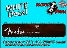 Fender Stratocaster 1950 ALL WHITE Headstock Waterslide Decals