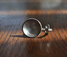 HANDMADE 925 STERLING SILVER & FINE SILVER DISC RING SIZE L NEW