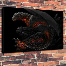 "Fire Dragon Awesome Mythical Dragon Printed Canvas Picture A1.30""x20"" 30mm Deep"