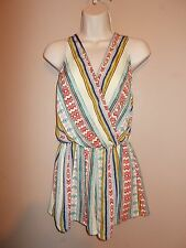 Womens Fair Isle Pattern Sleeveless V-Neck and Back Romper