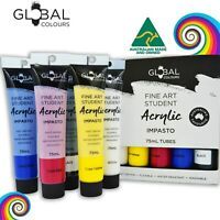 New! GLOBAL COLOURS 5 Brilliant Colours x 75ml Acrylic Paint Tubes Set Painting
