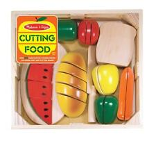 Food Play Set Pretend Cutting Board Knife Kids Toddler Kitchen Gift Wooden New