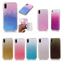 YH Gradation Glitter Ultra-Thin Acrylic TPU Back Case Cover Skin For Lot Phones