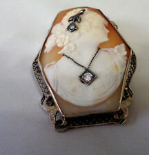 VICTORIAN 1800'S SHELL & DIAMOND CAMEO BROOCH & PENDANT  W/G PLATED ON METAL