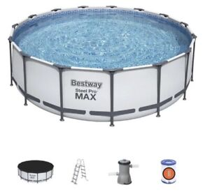 Bestway BW56438 Steel Pro Round Frame Swimming Pool with Filter Pump, 15 ft