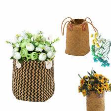 Handicraft Seagrass Woven Belly Basket Flower Plants Pots Storage Bags Decor