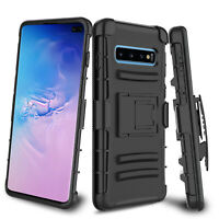 For Samsung Galaxy S10+/S10 Plus/S10e Rugged Hybrid Belt Clip Holster Case Cover