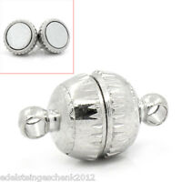 10 Silberfarbe Halbrund Magnet Verschluss 14x8mm