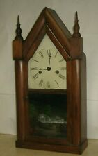 ANTIQUE A.S. PLATT AMERICAN GOTHIC-STYLE COTTAGE STEEPLE CHIME CLOCK WORKING