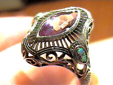 RING 7 SILVER AMETHYST solitaire eye opal FILIGREE SMALL DELICATED STERLING  925