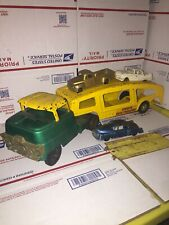 Vintage Structo Auto Haul Pressed Steel With 3 Cars Green/yellow
