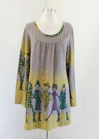 Aryeh Taupe Yellow Unique Fashion Ladies Graphic Print Tunic Sweater Dress Sz L