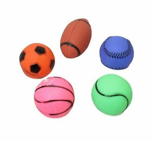 5 Pack Pet Cat Dog Squeaky Balls Sport Set Plastic Squeak Teething Chew Toys